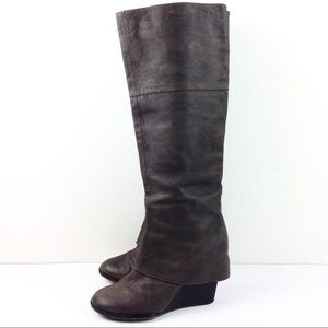 Vince Camuto Brown Wedge Leather Boots 10-N258